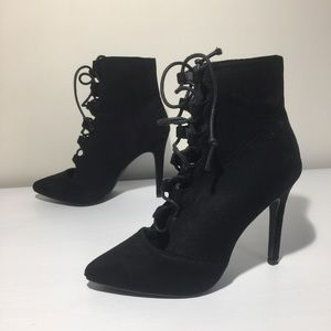 Shoes - Lace-up suede ankle heeled boots